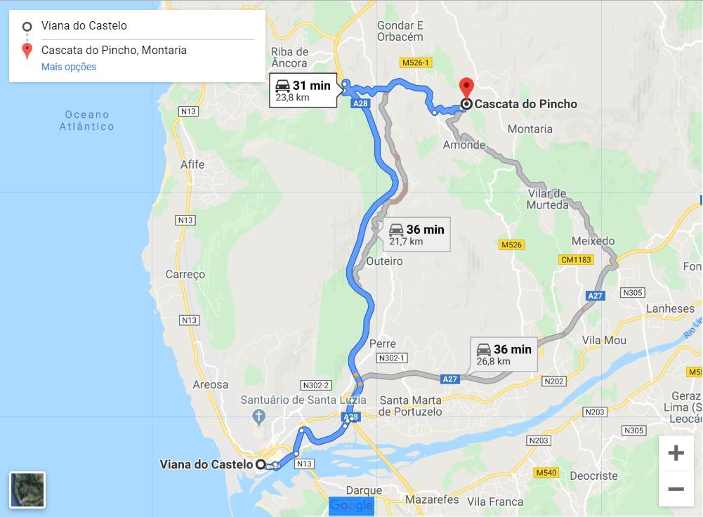 Mapa cascata do pincho Viana do Castelo